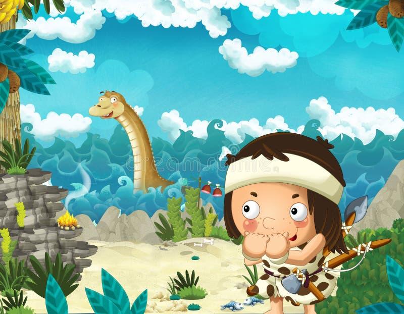 Cena dos desenhos animados com o homem das cavernas perto da costa de mar que olha algum diplodocus gigante feliz e engraçado do  ilustração stock