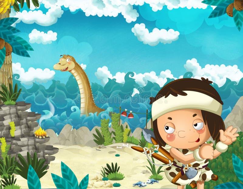 Cena dos desenhos animados com o homem das cavernas perto da costa de mar que olha algum diplodocus gigante feliz e engraçado do  ilustração royalty free