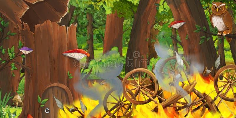 Cena dos desenhos animados com os carretéis de madeira na floresta e nos pares de voo das corujas ilustração stock