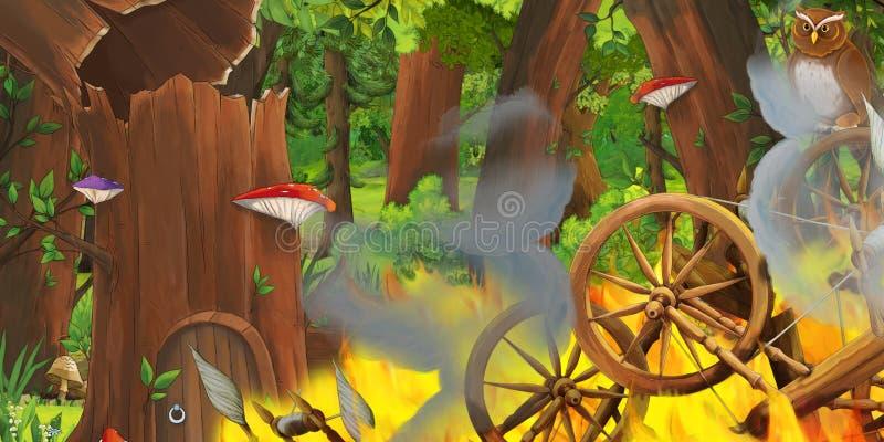 Cena dos desenhos animados com os carretéis de madeira na floresta e nos pares de voo das corujas ilustração royalty free