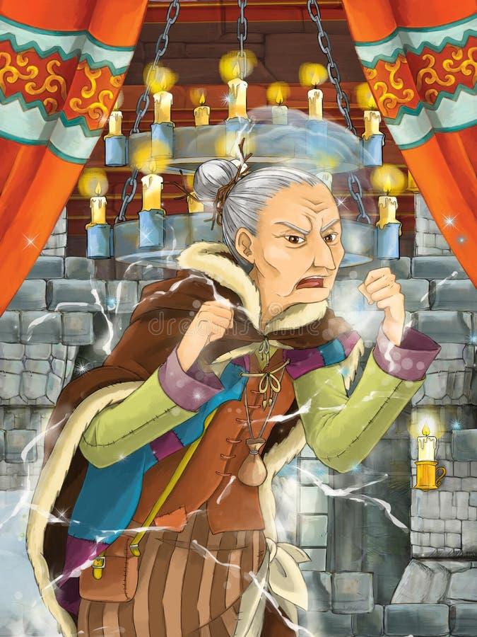 Cena dos desenhos animados com período de moldação da bruxa louca na câmara do castelo ilustração royalty free
