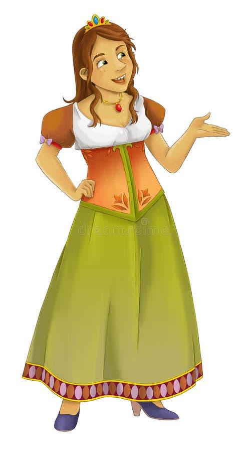 Cena dos desenhos animados com a princesa bonita no fundo branco ilustração do vetor