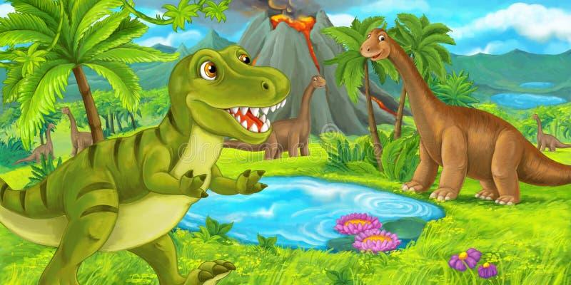 Cena dos desenhos animados com rex feliz do tiranossauro do dinossauro perto de entrar em erupção o vulcão e o diplodocus - ilust ilustração royalty free