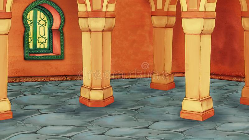 Cena dos desenhos animados com sala árabe medieval - ornamento de Extremo Oriente - a fase para o uso diferente ilustração do vetor
