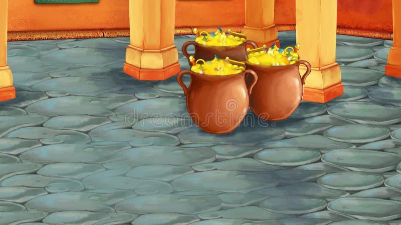 Cena dos desenhos animados com sala árabe medieval com tesouros - ornamento de Extremo Oriente - a fase para o uso diferente ilustração stock