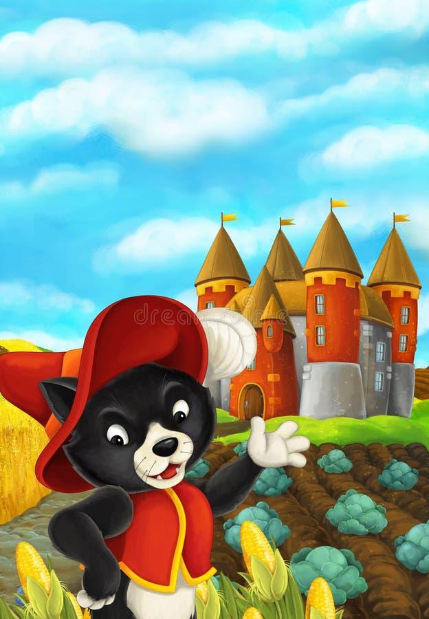 Cena dos desenhos animados com um gato no campo de milho - olhando ao redor de seu esconderijo ilustração do vetor