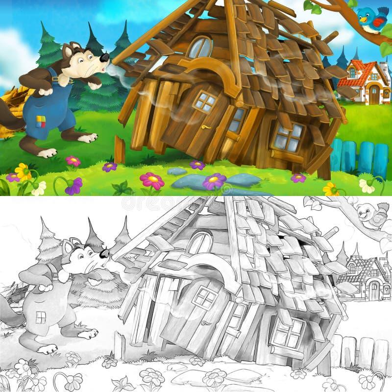 Cena dos desenhos animados da casa de madeira que está sendo demulida ilustração do vetor