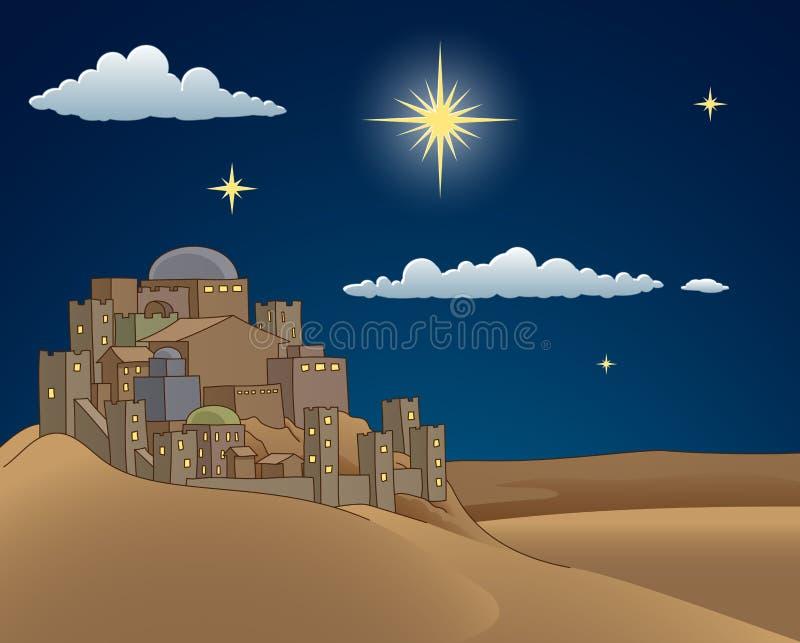 Cena dos desenhos animados da estrela de Bethlehem do Natal da natividade ilustração do vetor