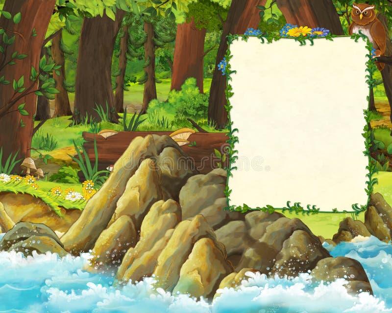Cena dos desenhos animados da floresta e do prado com corujas e da costa do mar - frontispício com espaço para o texto ilustração do vetor