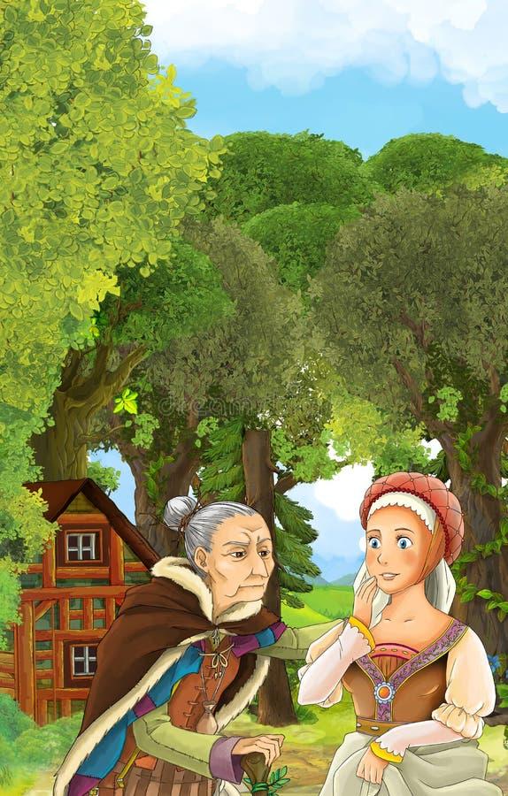 Cena dos desenhos animados da mulher mais idosa que fala à jovem mulher - épocas medievais ilustração royalty free