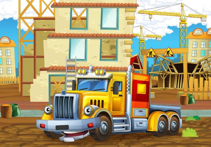 Cena dos desenhos animados de um canteiro de obras com caminhão pesado ilustração do vetor