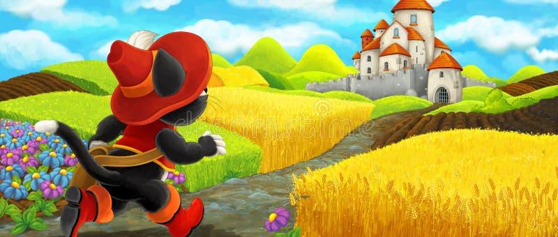 Cena dos desenhos animados de um gato que viaja a um castelo bonito ilustração royalty free