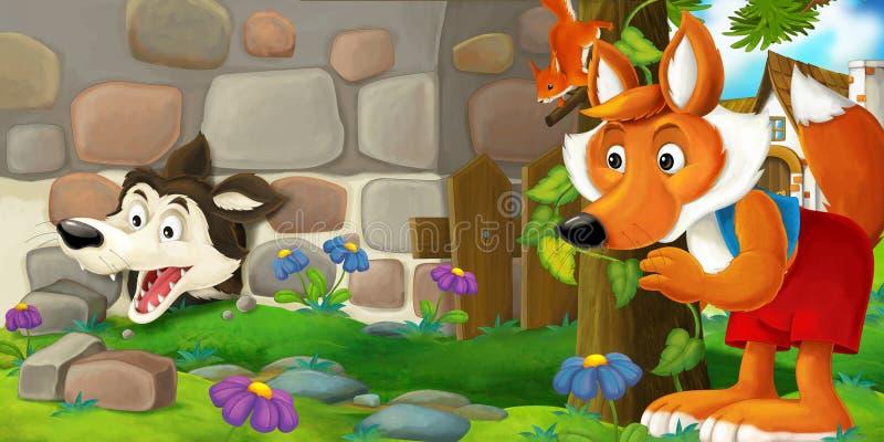 A cena dos desenhos animados de uma raposa que está e que olha como um lobo encarcerou-se na parede ilustração royalty free
