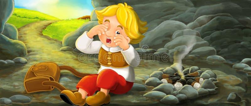Cena dos desenhos animados do viajante novo que acorda na caverna durante sua viagem - vintage que olha a pessoa ilustração stock