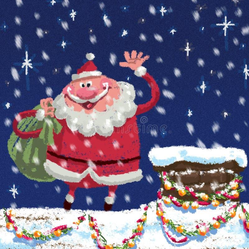 Cena dos desenhos animados Santa Claus no telhado ilustração stock
