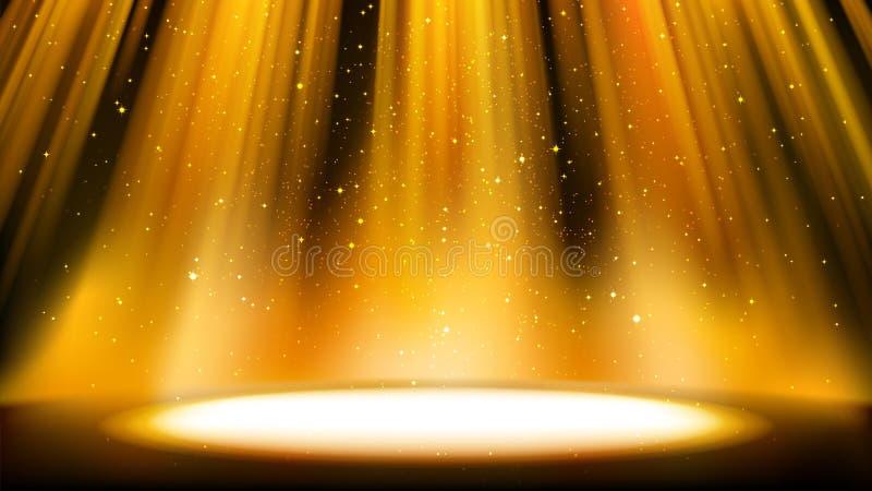 Cena dourada vazia com um fundo escuro, lugar iluminado pelo projetor dourado brilhante, partículas efervescentes de queda Contex ilustração do vetor