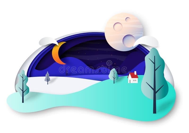 A cena e a natureza da noite ajardinam o estilo da arte do papel de conceito ilustração do vetor