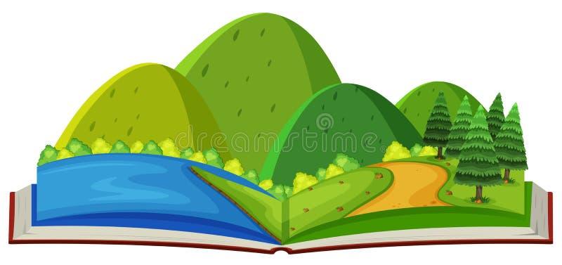 Cena e rio da montanha no livro ilustração do vetor