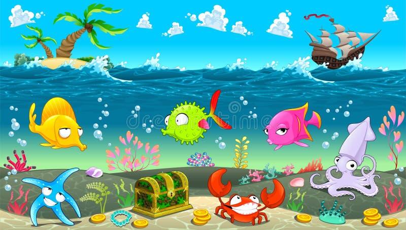 Cena engraçada sob o mar ilustração royalty free