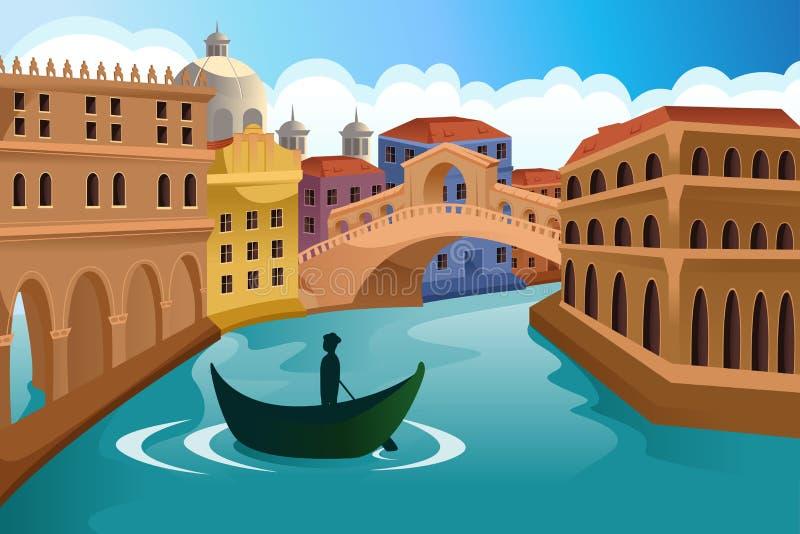 Cena europeia da cidade ilustração do vetor