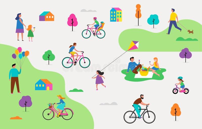 Cena exterior do verão com férias em família ativas, ilustração das atividades do parque com crianças, pares e famílias ilustração royalty free