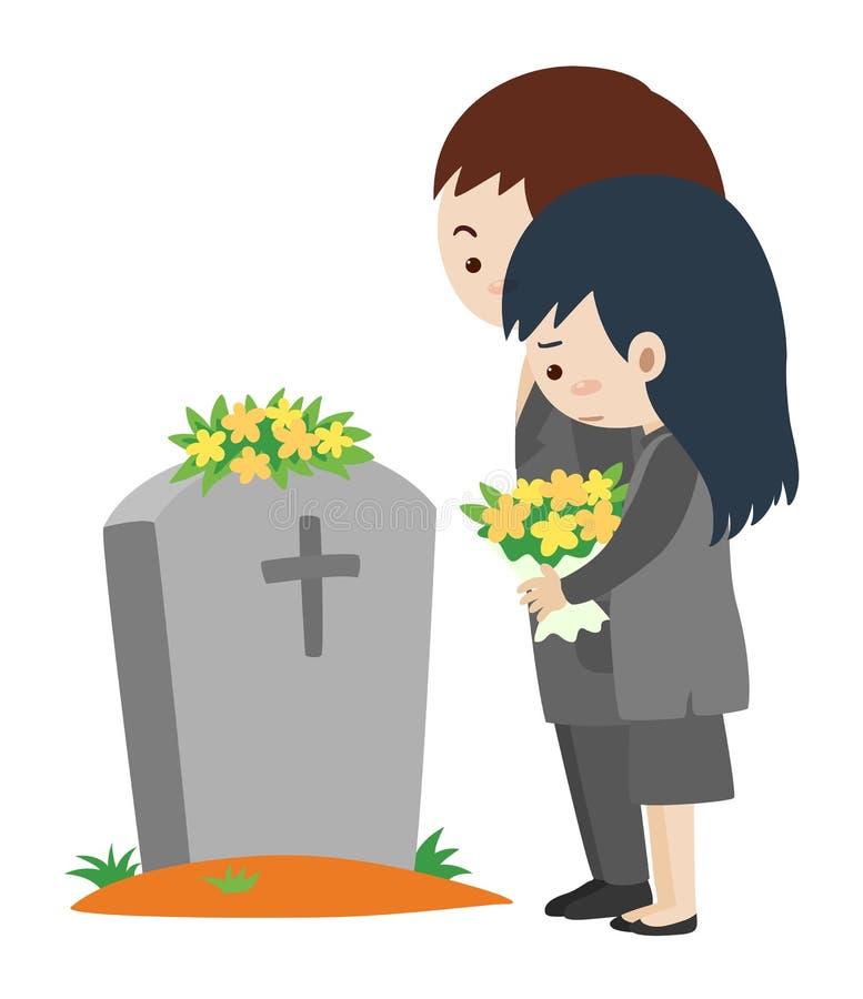 Cena fúnebre com homem e mulher ilustração royalty free