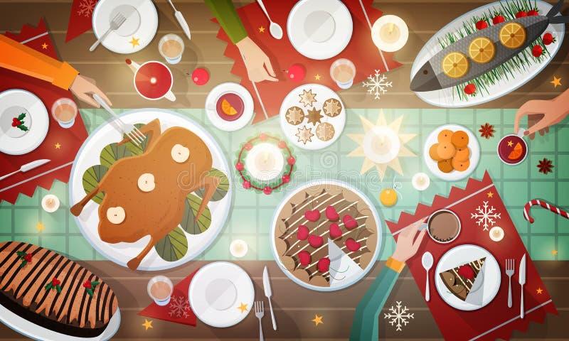 Cena festiva de la Navidad Comidas tradicionales deliciosas del día de fiesta que mienten en las placas y las manos de la gente q stock de ilustración