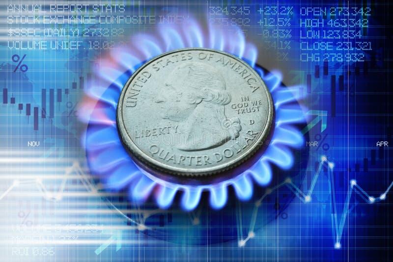Cena gazu ewolucji pojęcie z dolar amerykański monetą na benzynowego palnika i abstrakta tle obrazy stock