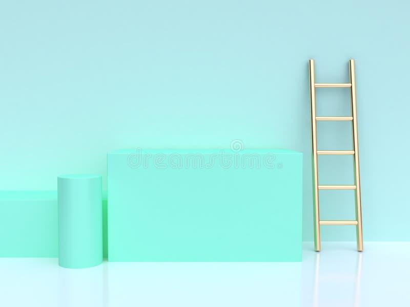 cena geométrica do verde da escada do ouro do cilindro do quadrado da forma da rendição 3d ilustração royalty free