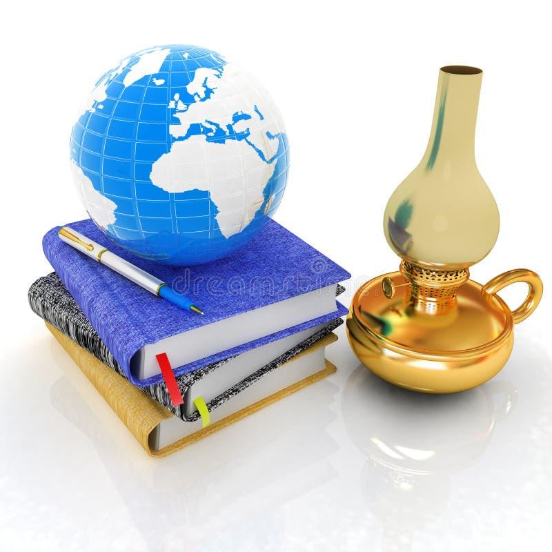 Cena global clássica com terra, lâmpada de querosene e cadernos ilustração royalty free