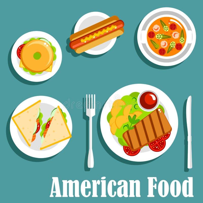 Cena hecha en casa del icono plano de la cocina americana libre illustration