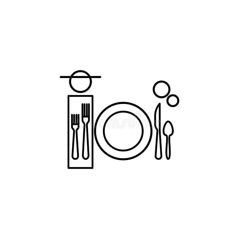 Cena, icona di etichetta della tavola Può essere usato per il web, il logo, il app mobile, UI, UX illustrazione vettoriale