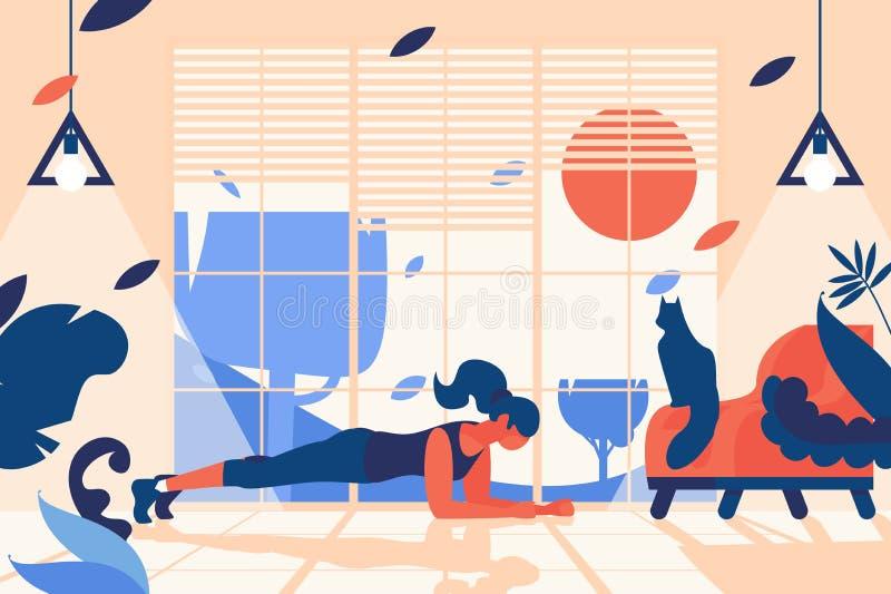 Cena interior com a mulher que faz a posição da prancha Gym da casa na frente da janela, com cadeira à moda e o gato de assento H ilustração stock