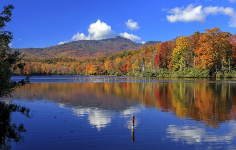Cena jezioro, Błękitny grani Parkway, Pólnocna Karolina obraz royalty free