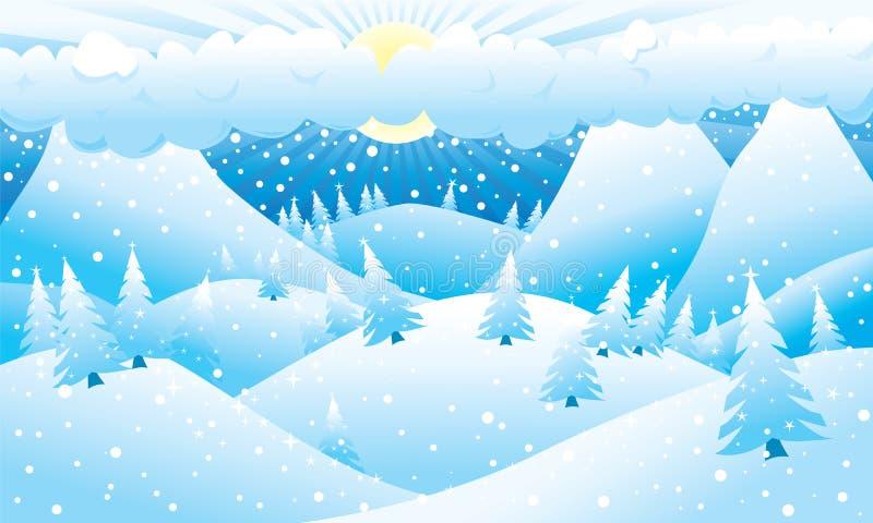 Cena montanhosa do inverno ilustração royalty free
