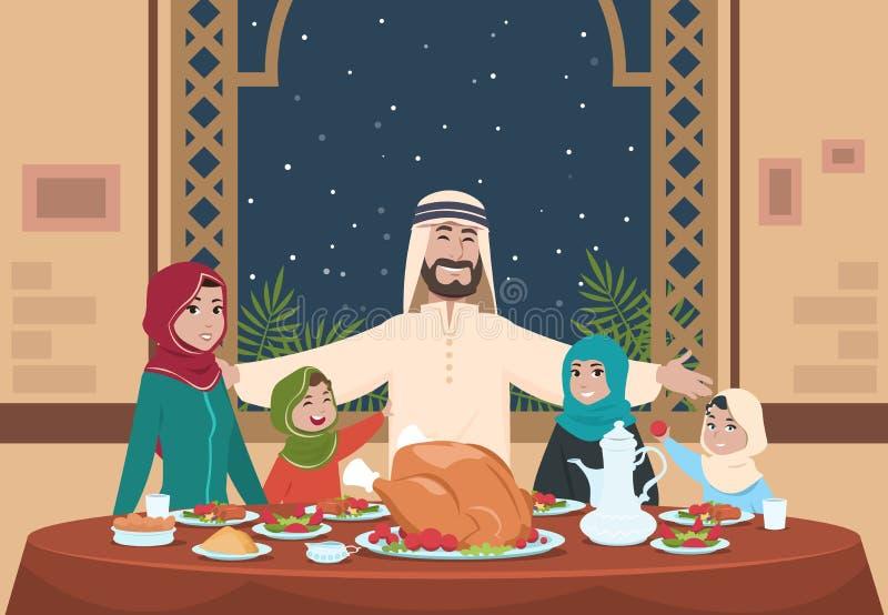 Cena musulmán del Ramadán Familia del saudí con los niños que comen el hogar Ejemplo del vector de la historieta del Ramadán ilustración del vector
