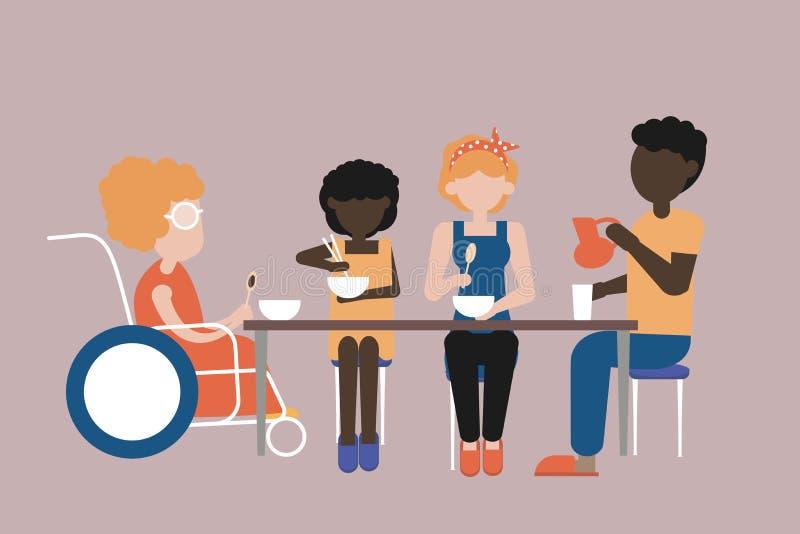 Cena nel circolo famigliare Valori familiari illustrazione di stock