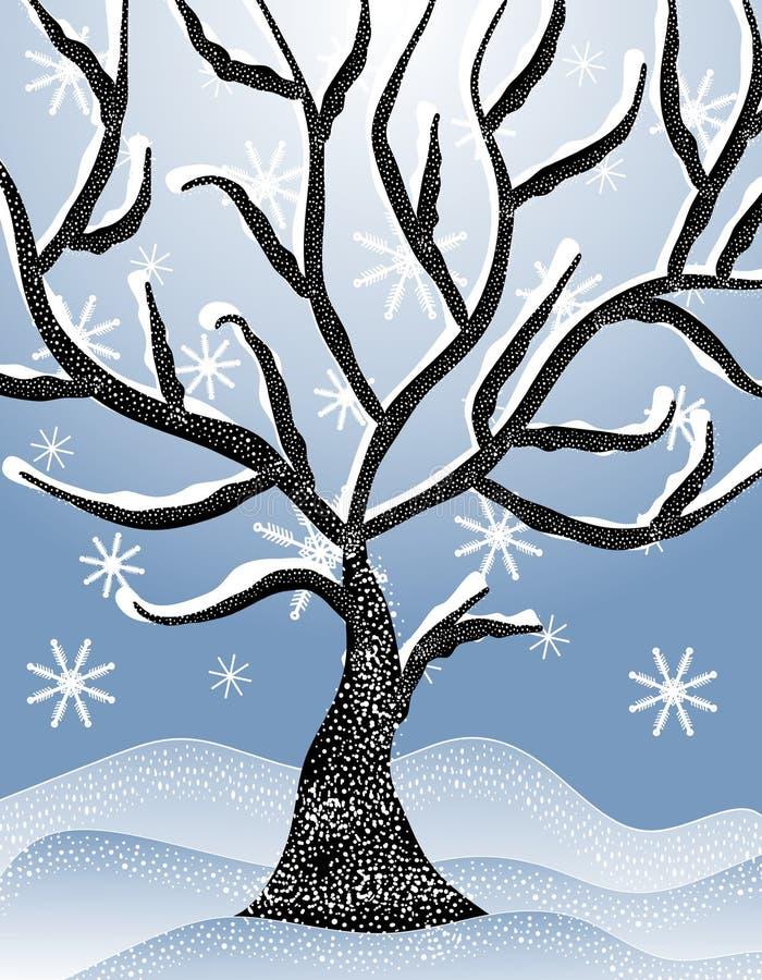 Cena nevado fria 2 da árvore do inverno ilustração do vetor