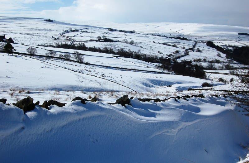 Cena nevado perto de Allendale, Northumberland, Inglaterra imagens de stock