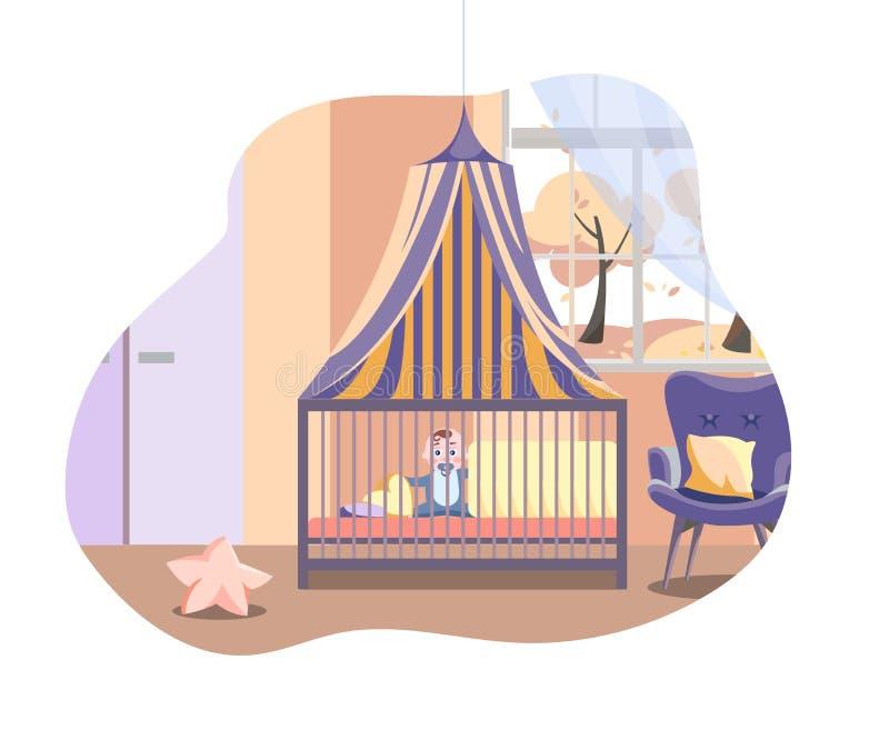 Cena no interior do berçário com mobília Bebê na cama sob o dossel ao lado da poltrona macia A sala do menino com janela e ilustração royalty free