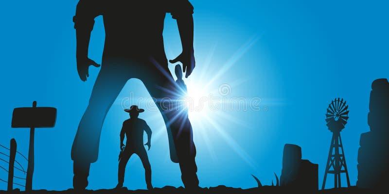 Cena ocidental com os dois homens ocidentais selvagens que enfrentam-se para lutar em um duelo ilustração stock