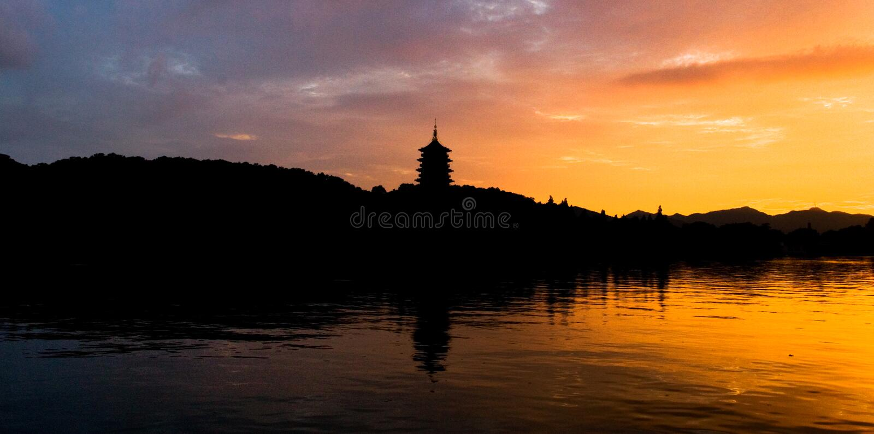 Cena ocidental do lago Hangzhou foto de stock royalty free