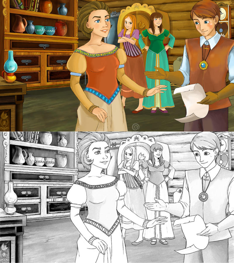 Cena para contos de fadas diferentes - príncipe dos desenhos animados está falando à mãe de duas filhas - com a página adicional  ilustração royalty free