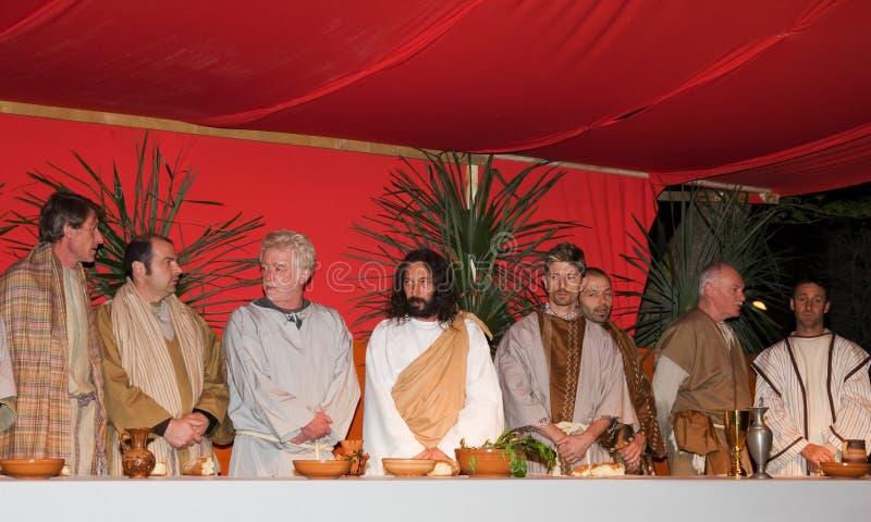 Cena pasada de Jesús y de sus discípulos foto de archivo libre de regalías