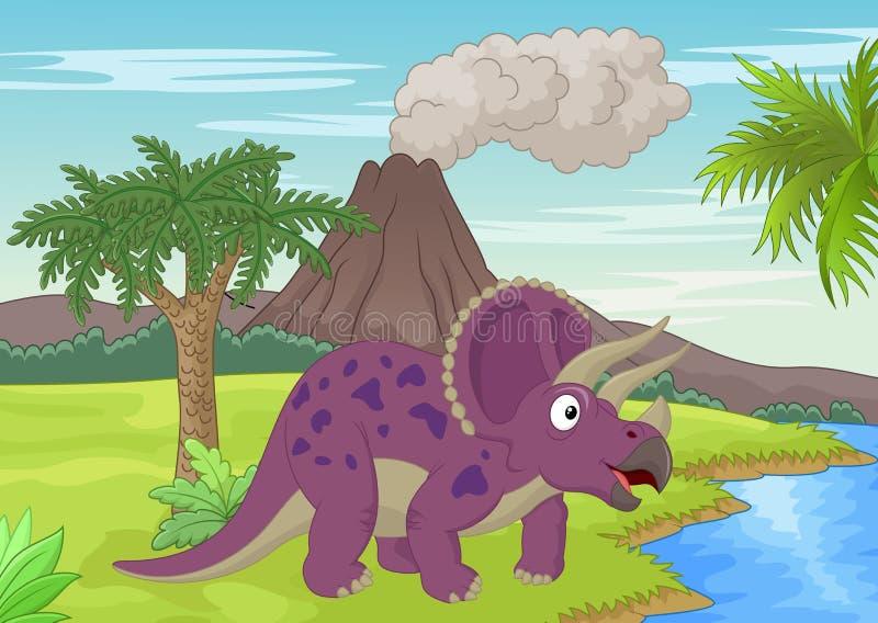 Cena pré-histórica com desenhos animados do triceratops ilustração do vetor