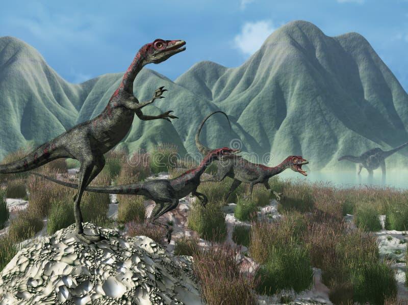 Cena pré-histórica com dinossauros de Compsognathus ilustração do vetor
