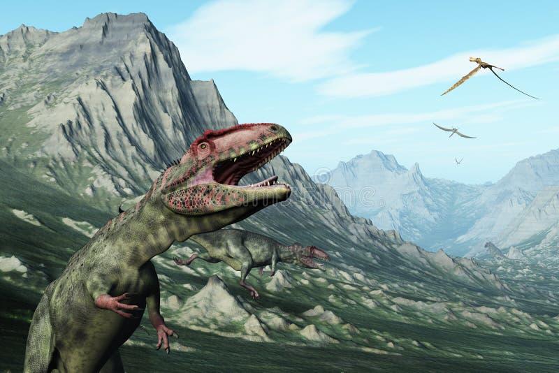 Cena pré-histórica da montanha com dinossauros ilustração do vetor