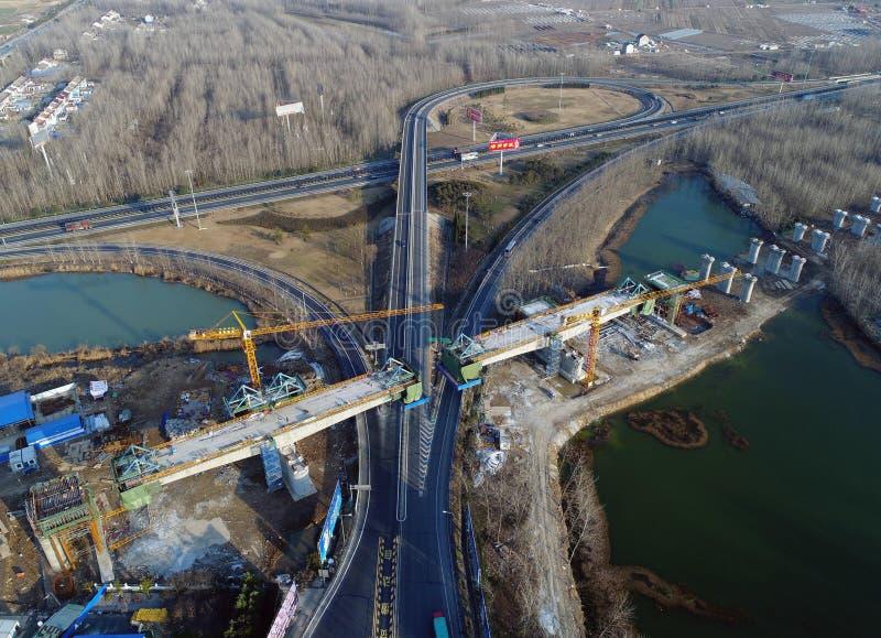 Cena railway de alta velocidade da construção de China imagens de stock royalty free