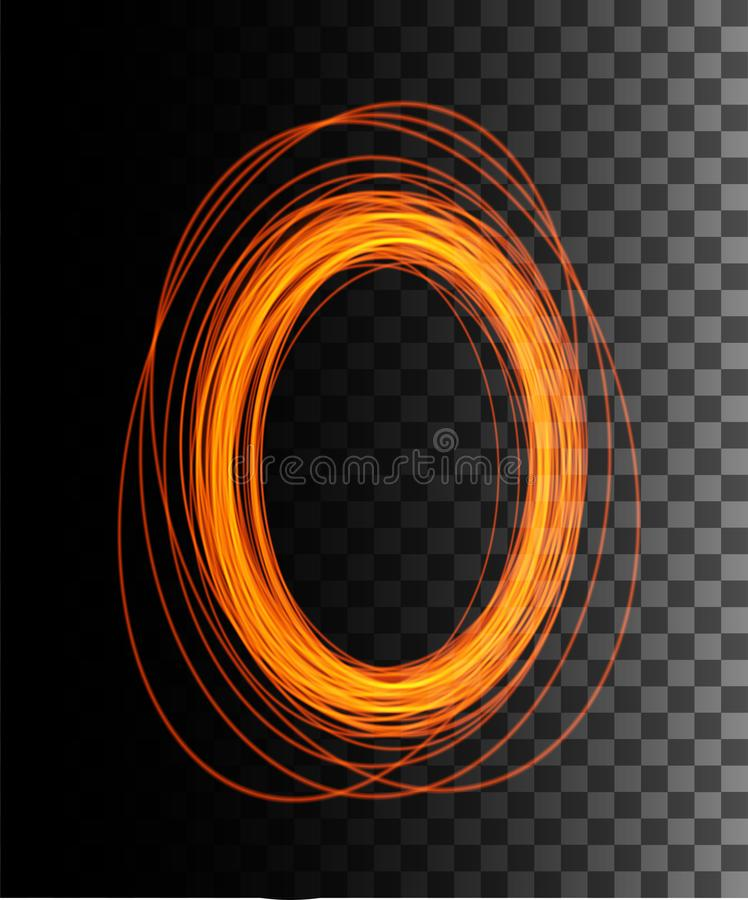 Cena redonda da noite dos raios do fulgor alaranjado com as fa?scas no fundo transparente P?dio vazio do efeito da luz Portal m?g ilustração royalty free