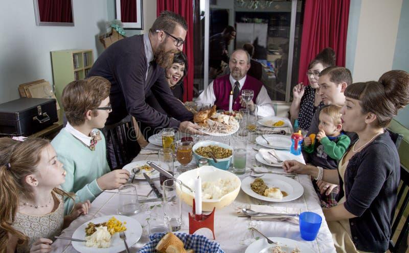 Cena retra grande Turquía de la acción de gracias de la familia fotografía de archivo